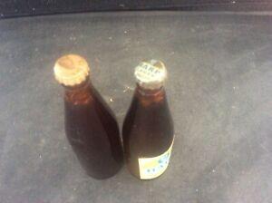2 Miniature Harp Lager & Guinness Glass Bottles Pair with Lids 1960s Advertising
