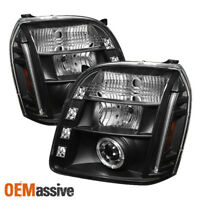 Fits 07-12 GMC Yukon Denali Black Halo Projector LED Headlights Lamps Left+Right