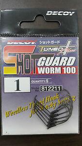 DECOY Tuned Plus Shot Guard Worm 100 Hooks Size #(1/3/4/5) - Made in Korea
