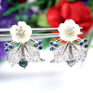 NATURAL BLUE SAPPHIRE MOTHER FO PEARL & CZ EARRINGS 925 SILVER STERLING