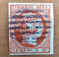 Spain Ccf.m. edf 19 Isabel 2 reales rojo bermellon... Spain 1853 usado, ver