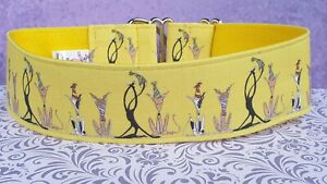Party Time on yellow by the Nellie doodles. 50mm Martingale Collar.