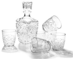 Bormiolli Rocco Dedalo Whiskey Decanter & 6 Liqueur Shot Glasses Gift Box Set