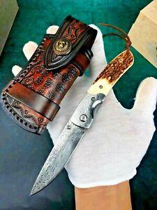 "Drop Point Knife Folding Pocket Hunting Survival Damascus Steel Antler Handle 3"""