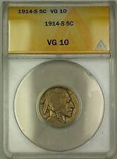 1914-S Buffalo Nickel 5c Coin ANACS VG-10