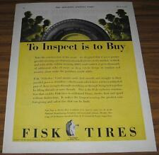 1928 VINTAGE AD~FISK TIRES~TO INSPECT IS TO BUY