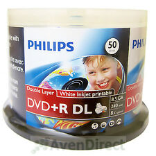 100 Philips 8X White Inkjet Printable DVD+R DL Double Layer FREE Priority Mail