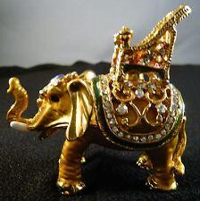 JEWELED ROYAL ELEPHANT TRINKET  RING BOX ENAMELED GLIMMERING HANDMADE SECRET BOX
