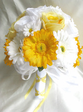 17 pcs Wedding Bouquet Bridal Silk flowers set YELLOW WHITE DAISY Decorations