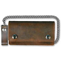 6 INCH DISTRESSED BROWN LEATHER WALLET W/CHAIN WALLET