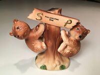 Vintage Philadelphia Zoo Souvenir Salt & Pepper Shaker Set Bear Cubs w/ Tree