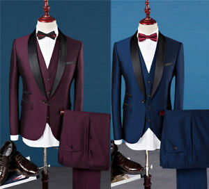 2 Colors Luxury Wedding Dress Formal Prom Suits Men Tuxedo Slim Fit 3Pcs Suit