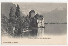 Chateau de Chillon & Dent du Midi Vintage U/B Postcard Switzerland 390a