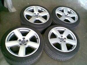 18 inch x 8j Audi Sline Alloy Wheels & Tyres 5x112 ET42 A3 A4 VW Golf Replica
