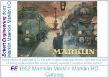 EE 1952 Marklin Catalog D 52 E in VG Good Condition