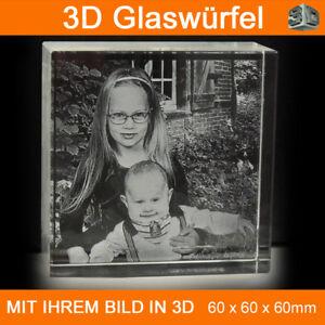 C60 Glas 3D Foto im Glas Gravur Geschenkidee 2D in 3D Weihnachten Taufe Familie