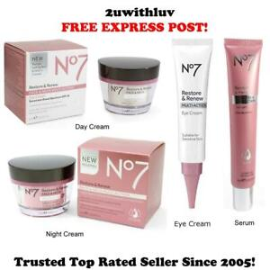 BOOTS NO 7 RESTORE & RENEW FACE & NECK MULTIACTION DAY NIGHT EYE CREAM SERUM