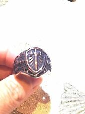 Large Stainless Steel Silver Sword Crest Size 10.5 Men's Ring