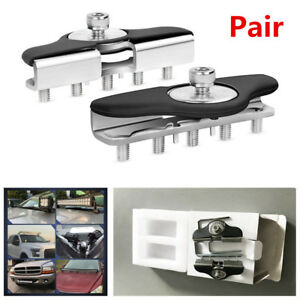 2X Truck Stainless Steel Hood Mounting Brackets LED Work Light Bar Clamp Holder