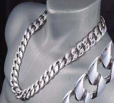 """28"""" 410g BIKER HEAVY HUGE CURB LINKS CHAIN 925 STERLING SILVER MENS NECKLACE PRE"""