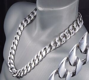 "32"" 464g BIKER HEAVY HUGE CURB LINKS CHAIN 925 STERLING SILVER MENS NECKLACE PRE"