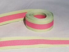 Striped Offray Grosgrain Ribbon ~ 5 yards ~New~ 7/8 inches ~ Pink~Green