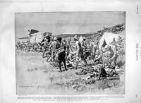 Original Old Antique Print 1900 Battlefield Medical Corps Map Africa Ladysmith