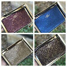 NWT COACH Star Glitter Wristlet Small Corner Zip Wristlet Box Plum F22705/F39132