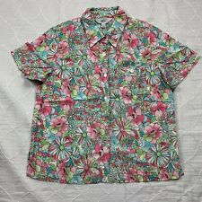 Amy K Su sport womens polo XL short sleeve button-down pink floral multi spring