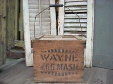 Antique Egg Crate Carrier Advertising WAYNE EGG MASH Wood Box Bail Handle