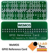WEMOS GPIO Reference Card GPIO Board for Raspberry Pi Model B+/Pi 2/Pi 3