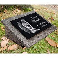 GRABPLATTE Herz GRABSCHMUCK Granit Wunsch Grabstein-h67 Gravur 36 x 38 cm