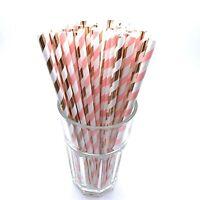 Foil Rose Gold & Light Pink Paper Straws Wedding Birthday Party Hen Baby Shower