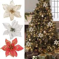 Christmas Glitter Poinsettia Artificial Flower Ornaments Xmas Tree Wreath Decor