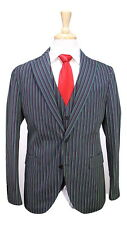 Bespoke! Handmade Green/Navy/Red Striped 3-Pc Cotton Slim Sailing Suit 38S