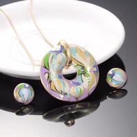 Vintage Jewelry New Fashion Trendy Metal Bohemian Necklace Earrings Set Enamel