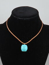 Barse Sterling Silver Natural Leather Turquoise Magnasite Stone Pendant Necklace