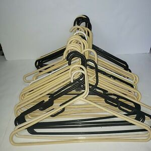 """Plastic Hangers, white, beige, and brown - lot of 30 - 16"""" hangers"""
