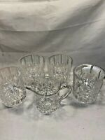 Set of 4 Whiskey Tumblers & Water Jug Thistle Design - Beautiful Condition #7