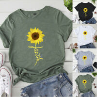 Women Summer Cotton Casual Sunflower Print Short Sleeve T-shirt Tops Fashion Tee