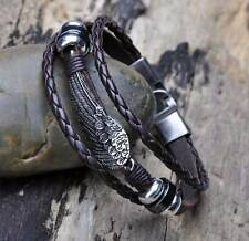 G11 Cool Metal Wing Studded Surfer Leather Bracelet Wristband Cuff Men's BROWN