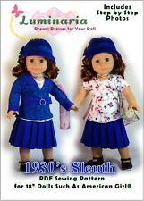 "PDF Pattern With Hat Jacket Skirt Dress Shirt. Fits 18"" American Girl"