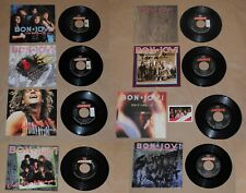 "BON JOVI Lot of EIGHT 7"" & PICTURE SLEEVES Includes Trading Card"