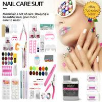 US - Full Set Acrylic Nail Art Tools Kit Powder Nail Sticker DIY Pump Nail Brush