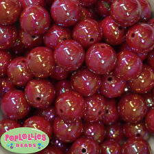 20mm Red AB Finish  Acrylic Miracle Bubblegum Beads Lot 20 pc Chunky