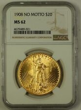 1908 NO MOTTO St. Gaudens $20 Double Eagle Gold Coin NGC MS-62 (Better) A
