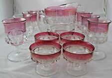 Kings Crown Cranberry Flashed Top Tiffin Franciscan Set of 15 Red Vintage