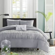 BEAUTIFUL GREY CHIC SOFT RUFFLE RUCH TEXTURE DUVET COVER SET XL TWIN FULL QUEEN