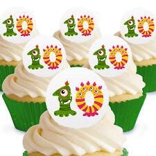 12 X pastel monstruo Chicas Cake Toppers Comestibles precortadas