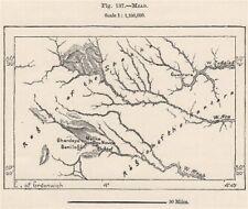 M'zab. Argelia 1885 cuadro de plan de Mapa Antiguo Vintage Antiguo